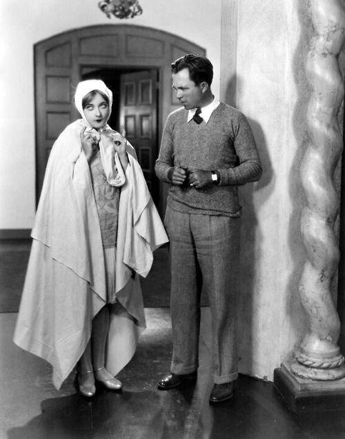 Marion Davies, imitating Lillian Gish, with King Vidor on the set of The Patsy (1928)