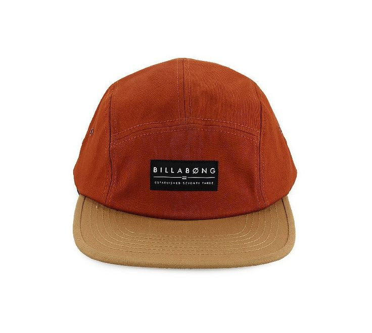 Barnaby Cap by Billabong. 5 panel cap with terracotta color, side relish buckle, hat that will protect you from the sun, perfect hat to wear to the beach or to the park, this cap will suit your style, pair it with graphic print t-shirt and short jeans for a casual style. http://www.zocko.com/z/JGhys