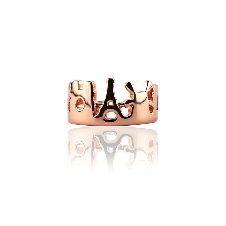 Paris Skyline Ring In Silver Pink Gold Plated 18k  Price: 240€ 100% Made in Italy Available Online at http://www.preziosajewelry.com/shop-preziosa/it/