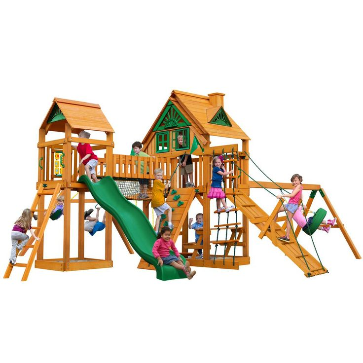 Gorilla Playsets Pioneer Peak Treehouse Swing Set with Amber Posts, Browns/Tans