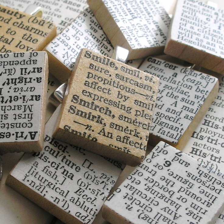 Vintage Dictionary Scrabble Tile Pendant. You Select Word.