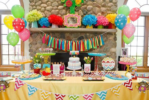 Colorful Curious George Themed Chevron Birthday Party