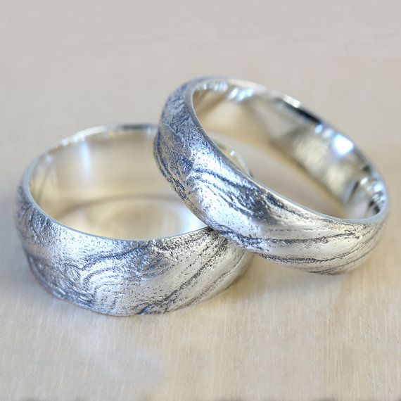 Bristlecone Tree Bark Wedding Band Set In Recycled Silver Ring And His