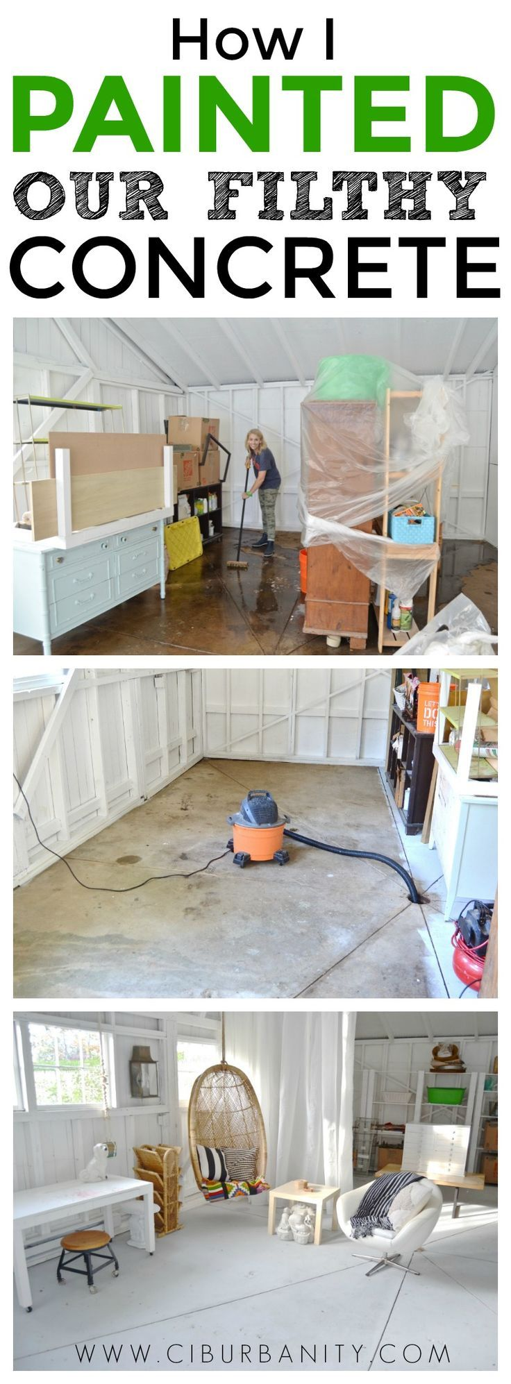 how to paint filthy concrete floors with only three small cans of paint