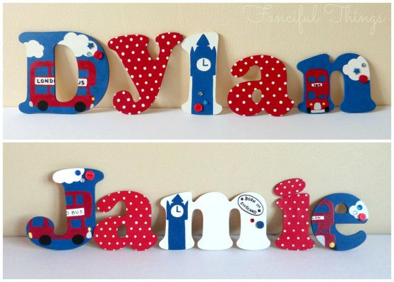 British London Theme Wooden Wall Letters for Nursery or Playroom on Etsy, £4.00