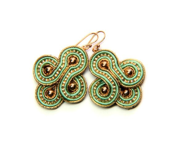 retro teal gold soutache earrings free shipping by KimimilaArt