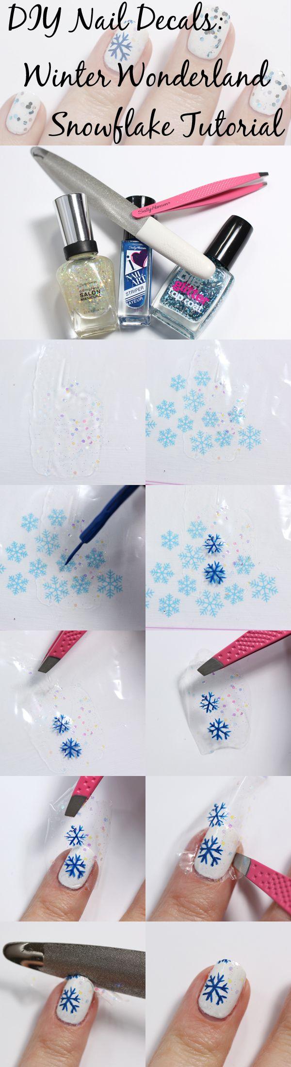 DIY Nail Decal Tutorial - Snowflakes via @alllacqueredup