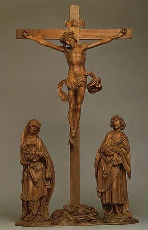 Crucifixion, ca 1500-1510 Tilman Riemenschneider (ca. 1460-1531); Christ: H. 50,5 cm; Vierge: H. 44,8 cm; John H. 46 cm - Hesse State Museum, Darmstadt photo: http://www. metmuseum.org