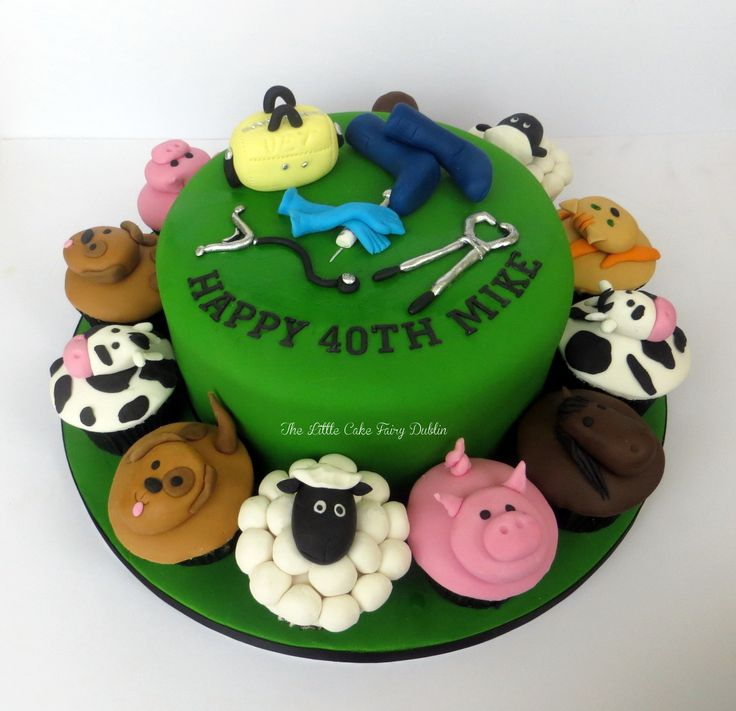 40th birthday cake and cupcakes for a vet