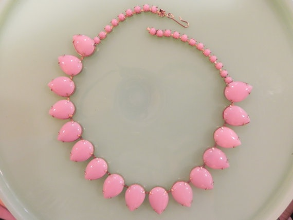 Vintage pink milk glass necklace.