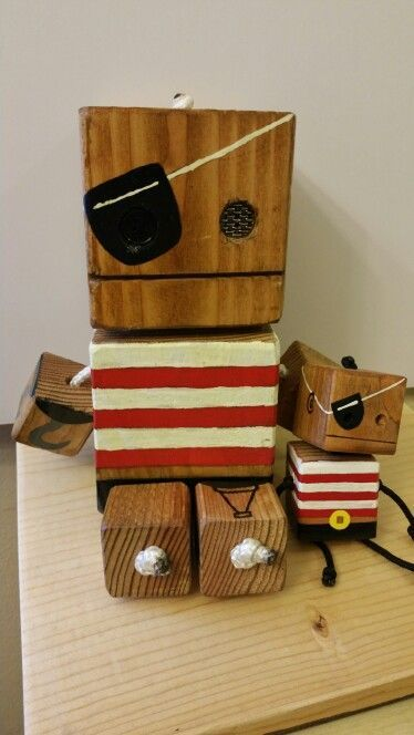 Pirate + Mini Pirate – wooden toy, natural wood, wooden robot, DIY toy #woodtoy