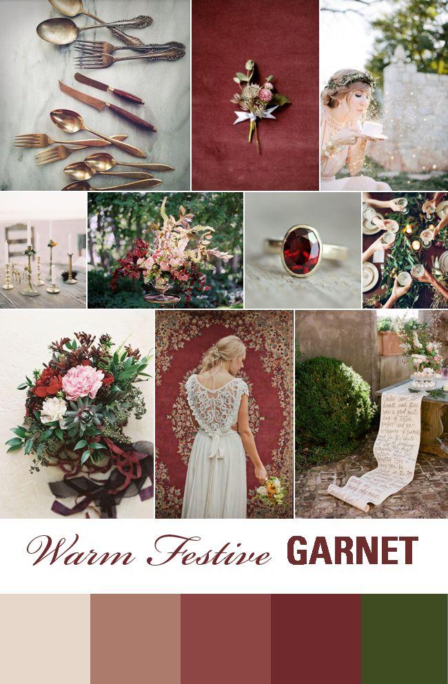 Festive Wedding Inspiration: Garnet, Forest Green & Antique Metallics