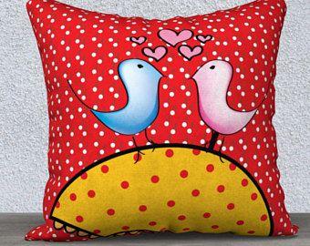 Coussin housse couple d'oiseau amoureux, taies d'oreiller,pluie, coussins, housses de coussin, oreillers décoratifs, oiseau, bleu, rose