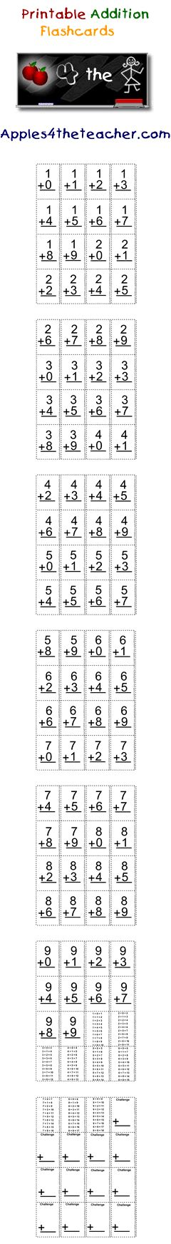 Learn your addition tables with these mini addition flash cards. Addition flashcards reinforce addition tables from 1 to 9.