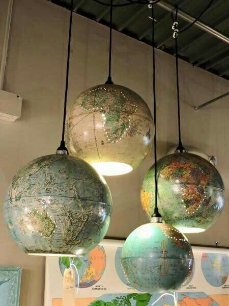 Find old globes at thrift stores - what a great way to upcycle them. Cut a hole in the bottom & add a light kit. Few holes in the globe for interest, and tadahh! #coolfurniture