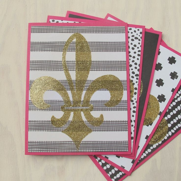 Stationery Set with Gold Fleur De Lis - Handmade Stationary / Thank You Notes /  Thank You Cards / Feminine Stationary / Louisville KY