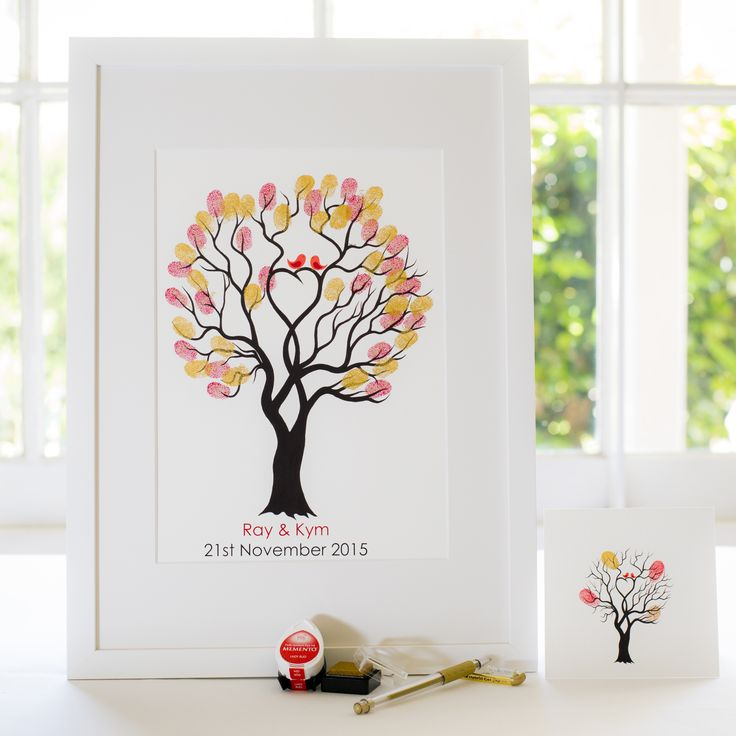 Unity Tree - Red birds guest book for Wedding, funeral or other celebration. Illustrated by Ray Carter - The Fingerprint Tree® Made-to-order, ships worldwide. The Fingerprint Tree®, bespoke gifts you'll treasure!