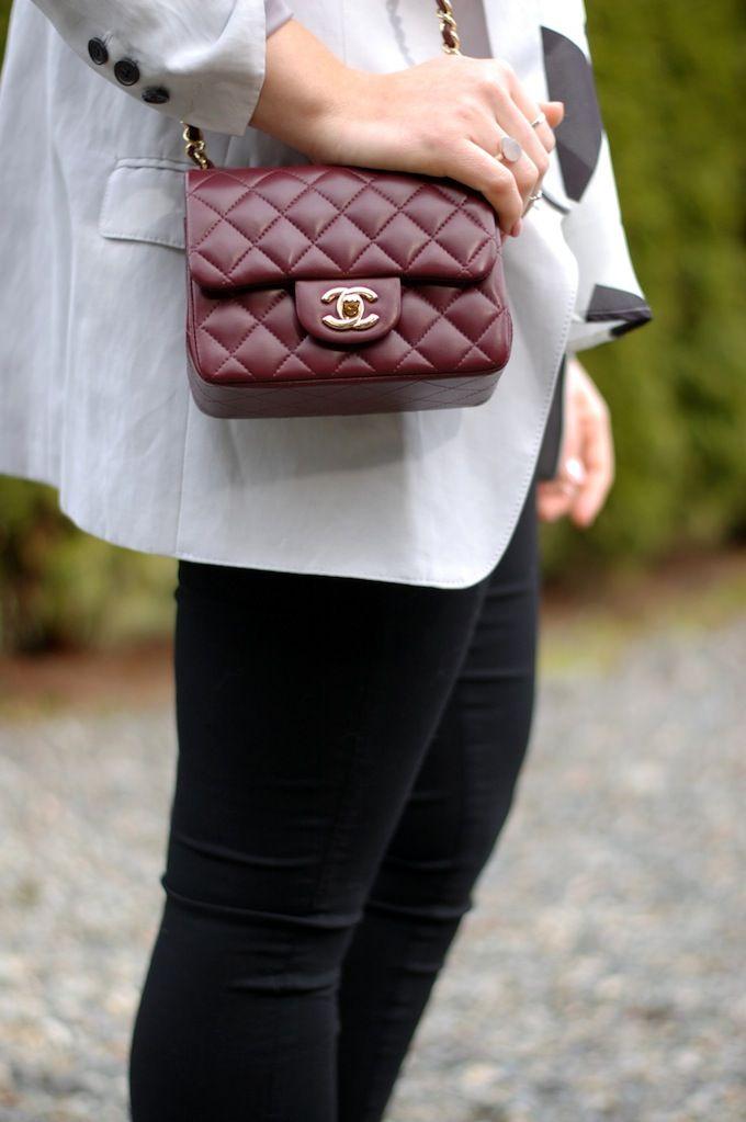 Chanel Mini Flap Bag In Burgundy Lambskin
