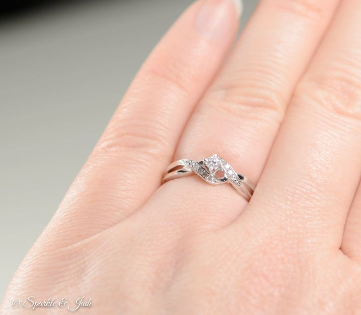 Sterling Silver Diamond Promise Ring- Sparkle & Jade-SparkleAndJade.com[product_sku]