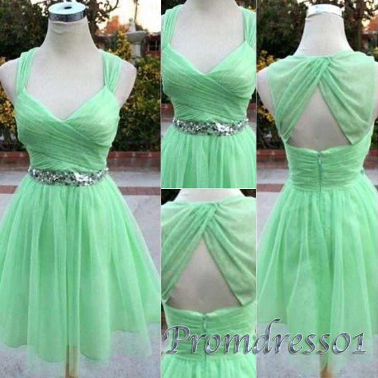 Mint chiffon short prom dress, strpas bridesmaid dress, cute sweetheart dress for teens, homecoming 2016, short party dress from #promdress01 #promdress www.promdress01.c... #coniefox #2016prom