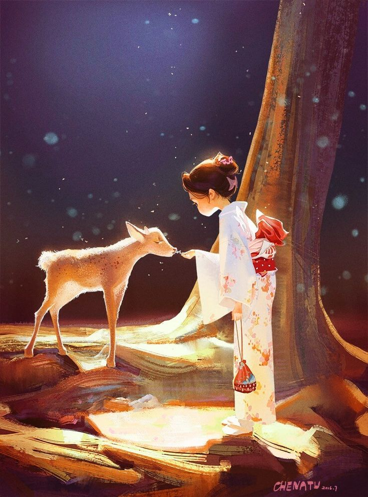 Super cute narrative & amazing light in Elaine & The Deer - fab #illustration #art by Tu Tu