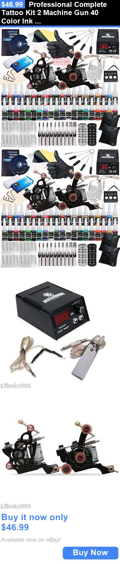 Tattoo Complete Kits: Professional Complete Tattoo Kit 2 Machine Gun 40 Color Ink Needle Power Supply BUY IT NOW ONLY: $46.99