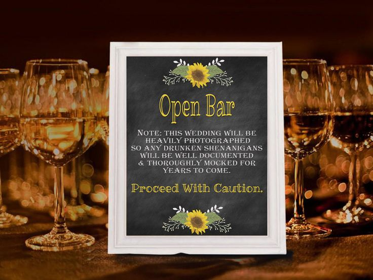 Drunken Shenanigans Open Bar Sign - You've Found The Bar, Wedding Reception 8x10