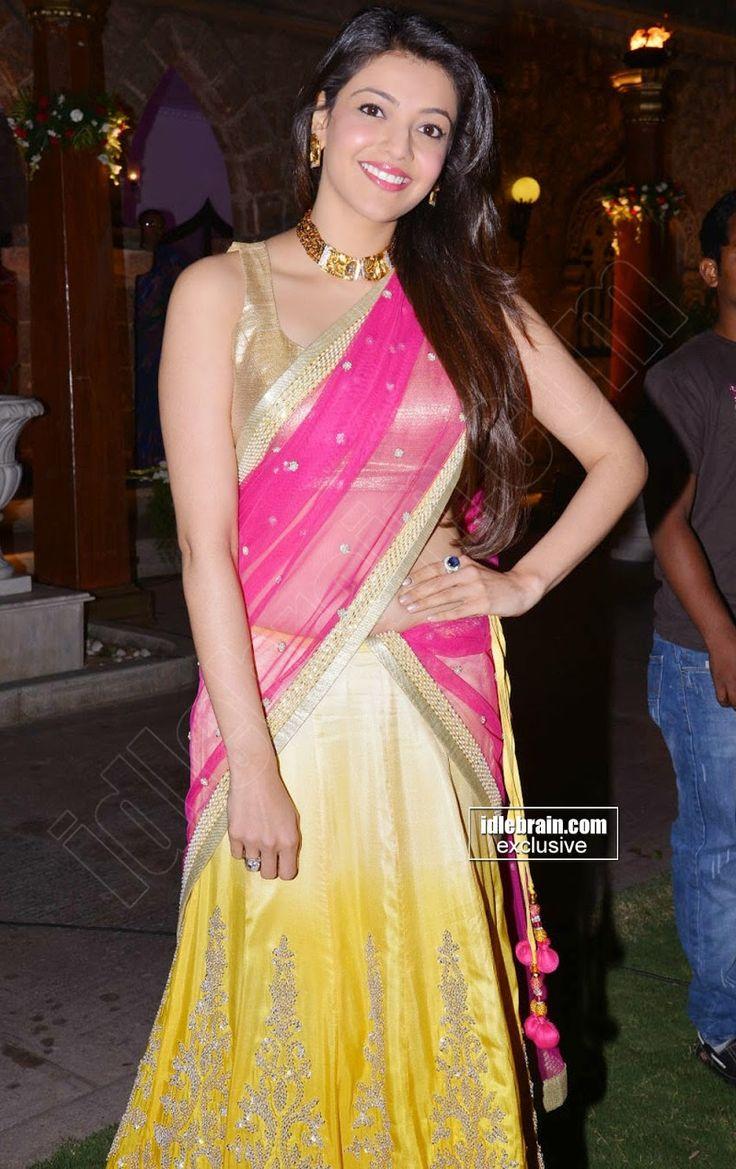 Kajal Agarwal Sizzles in Pink Yellow Half Saree