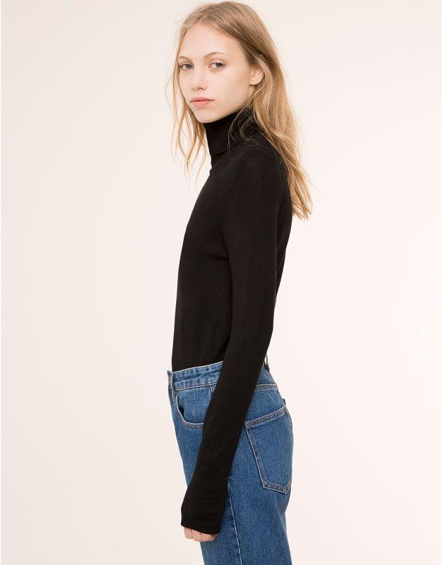 Pull&Bear - dla niej - kardigany i swetry - gładki sweter z golfem - czarny - 09559343-I2015