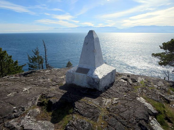This cairn on Beechy Head in East Sooke Regional Park west of Victoria, British Columbia, marks turning point 10 of the Canadian and United States boundary between the 49th parallel and the Pacific Ocean.