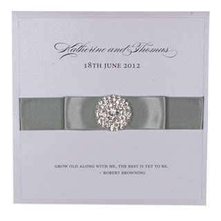 Square Folding Invitation With Double Ribbon and Diamante Cluster