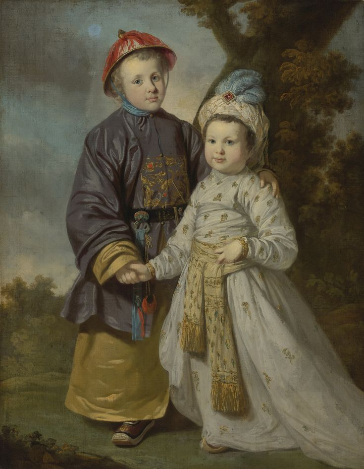 Portrait of two children in eastern costumes by Tilly Kettle (British 1735–1786)