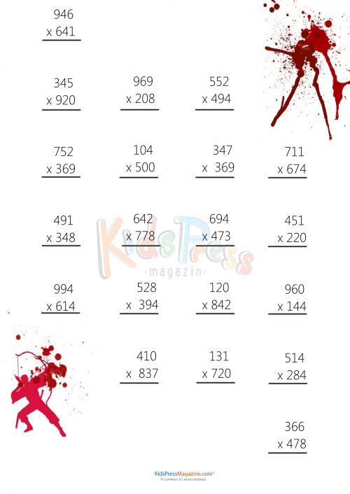 3 Digit by 3 Digit Multiplication Worksheet -#5  #math #multiplication #free #quiz #worksheet