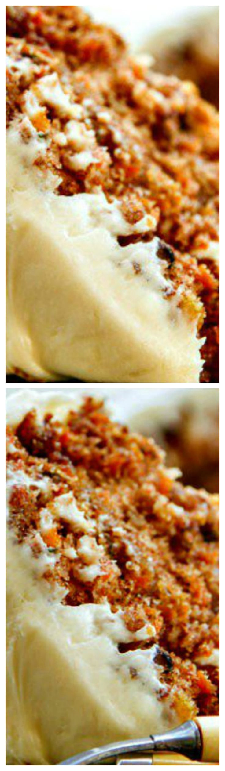 The BEST Carrot Cake recipe I have ever found ~ A buttermilk glaze seeps into the warm cake layers making it extra moist. Then a delicious cream cheese frosting is added to bring all the flavors together. It's even BETTER the next day!