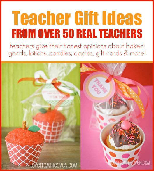 Teacher Gift Ideas From Real Teachers at Love From The Oven.  Over 50 teachers shared their thoughts on baked goods, lotions, candles, apples, gifts cards and more.  See what they really want!