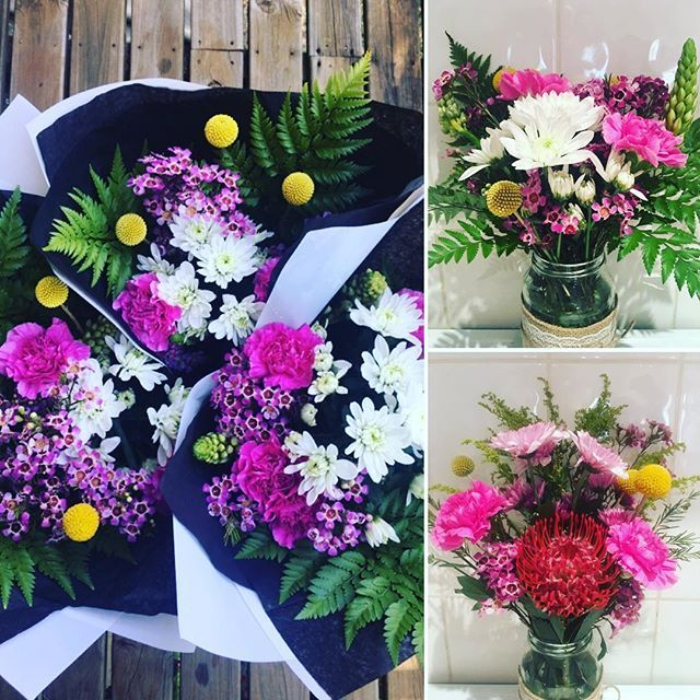 Rise + shine  Saturday morning is here, why not celebrate spring by brightening up your space with some beautiful flowers? Or gift a bunch to brighten a friend's day 'just because'? Bouquets or mason jar arrangements, you choose! Head on down to @peregiangardencentre to get yours ♀️