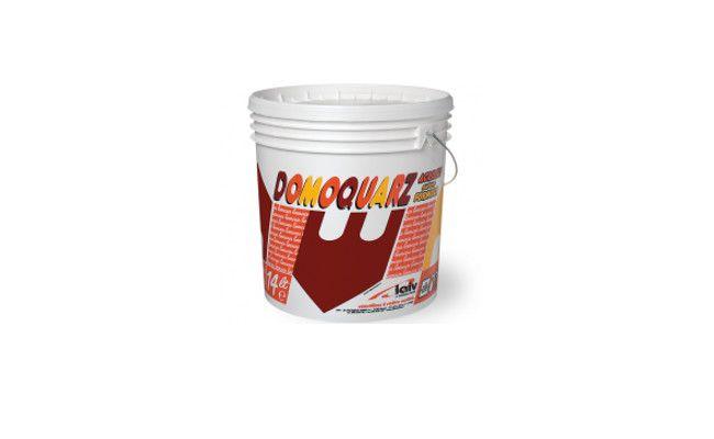 RIVESTIMENTO QUARZO - 14 LT. DOMOQUARZ Idropittura al quarzo per interni ed esterni a base di resine acriliche; Quarzi e pigmenti finissimi di ottima copertura e stabilità di tinta, resistente alle interperie Si applica a pannello, rullo o rullo in spugna Diluire con acqua 5÷10% - Resa 6÷8 mq./lt