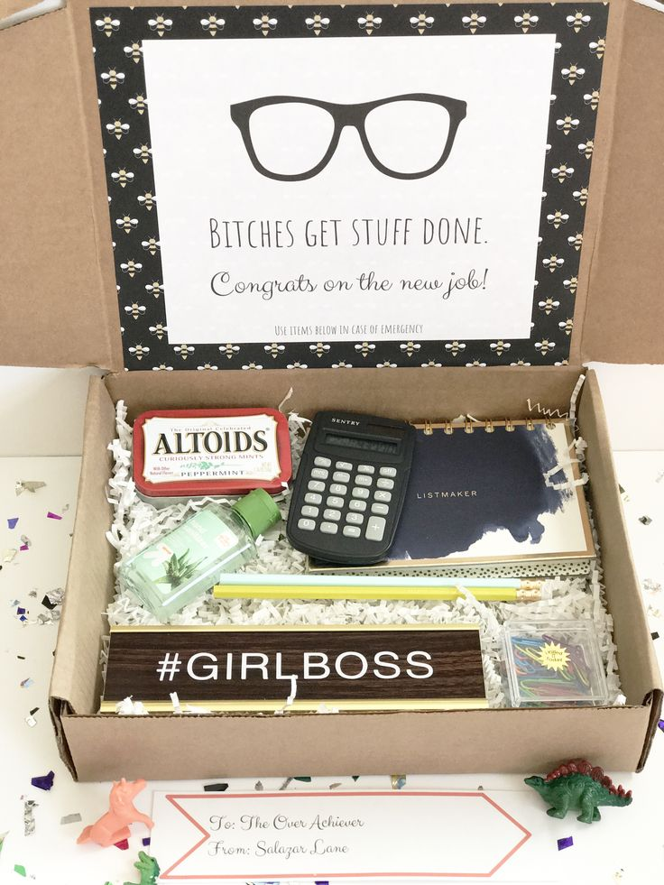 This gift box includes all the essentials for landing that new job: a desk plate so you don't forget which desk is yours, hand sanitizer in case you do forget and pick up germs from someone else's desk, pencils to remind you to kick ass, and altoids because no one wants to talk to you when you have bad breath.  Items in the box: -Altoids -Calculator -Notepad -Hand Sanitizer -Pencils -Paper Clips -Desk Name Tag