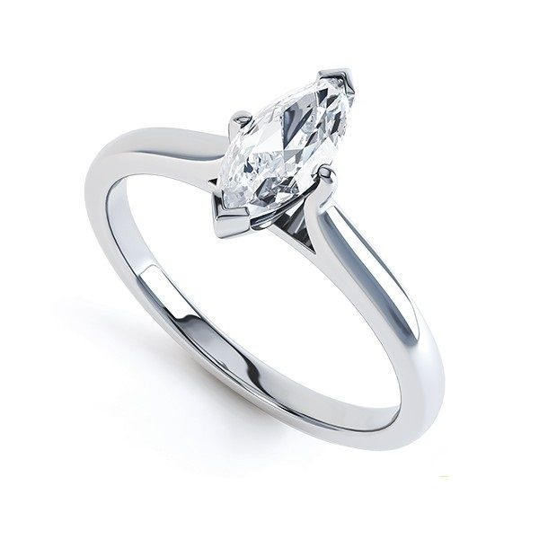 """Zoe"" 4 CLAW TWIST MARQUISE DIAMOND ENGAGEMENT RING A captivating marquise diamond engagement ring  Boat shaped in form, and slender long and graceful, accenting and lengthening the profile of the finger, marquise solitaire engagement rings offer outstanding beauty, brilliance and value for money."