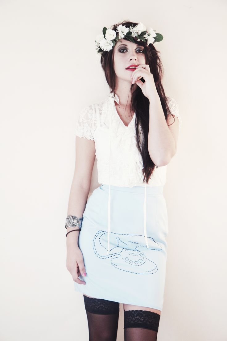 Baby Blue Telephone Pencil Skirt Call A Cab & Take It Slow www.callacabandtakeitslow.com