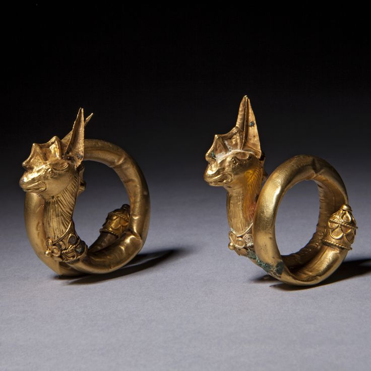 A Gold Pair Of Dragon Ear Ornaments. Possibly Cypriot Greek. 2nd Millenium B.C.
