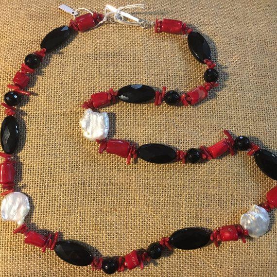 Collana onice radice di corallo perle di BaguStore su Etsy