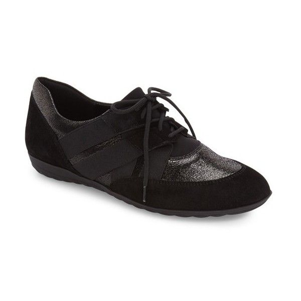Women's Sesto Meucci Berkly Sneaker ($194) ❤ liked on Polyvore featuring shoes, sneakers, black leather, black leather oxfords, leather sneakers, black oxford shoes, black leather trainers and black leather shoes