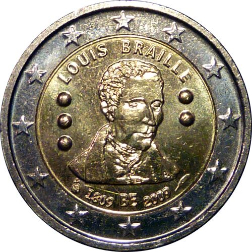 Herzlichen Glückwunsch (nachträglich) zum 206. Geburtstag, Braille-Punktschrift! Bild: 2 Euro Gedenkmünze für Louis Braille von 2009 (Wikipedia, 2-Euro-Gedenkmünzen)