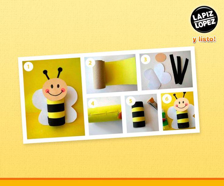 Para hacer esta entretenida abejita necesitas: un pedazo de cartón, cartulina amarilla, blanca y negra, plumón negro y un lápiz de cera rojo. Sigue el paso a paso y podrás crear muchos diseños.