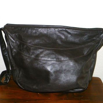 Vintage Enny leather Handbag, Chocolate brown, Italian Designer purse, Butter soft leather!