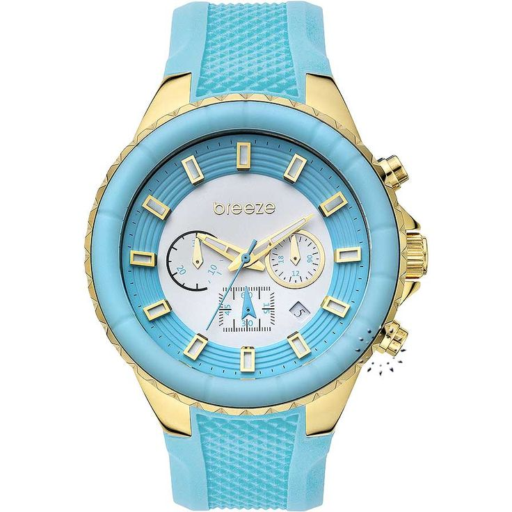 BREEZE Air Hollywood Chrono Light Blue Rubber Strap Τιμή: 180€ http://www.oroloi.gr/product_info.php?products_id=30582