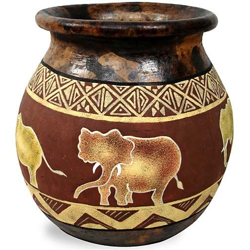 African pots tabletop gold coast africa product African elephant home decor