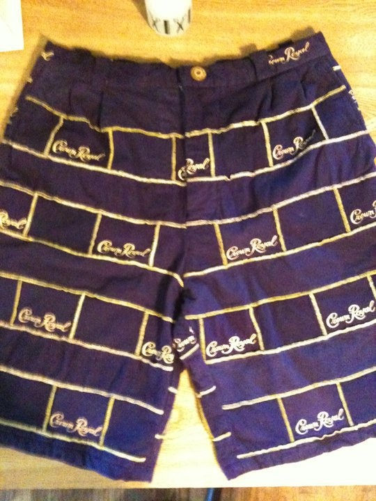 Mens shorts made from Crown Royal bags, Yes I made them.