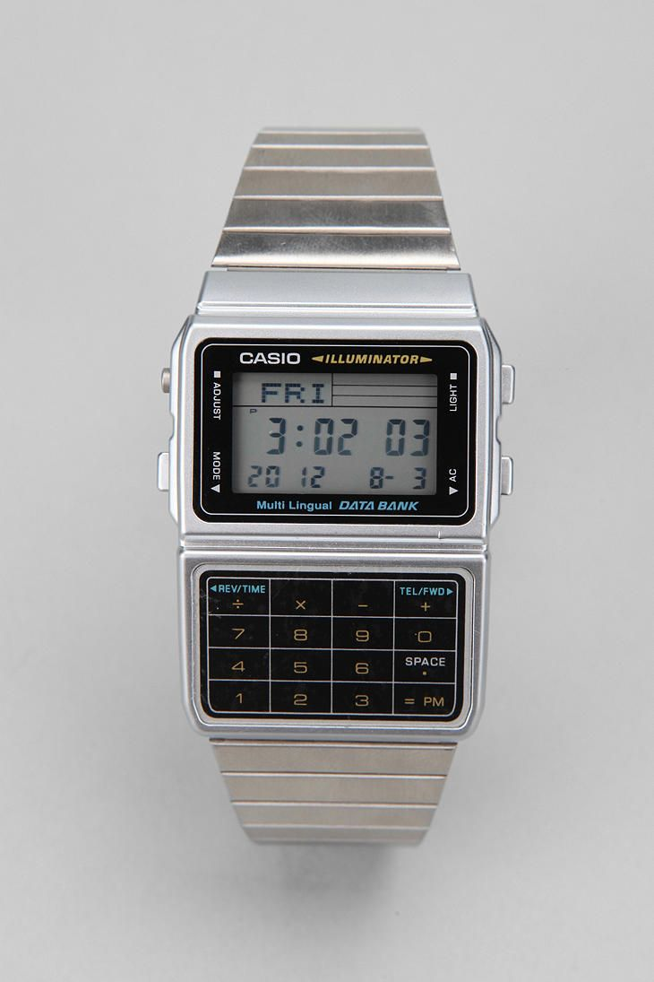 Casio Databank Metal Watch  #UrbanOutfitters  Jeff used to wear this so he could calculate medications quickly in the ER! Brings back the old days! :)